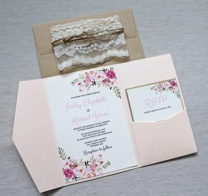 Invitaciones de boda en tonos color rosa
