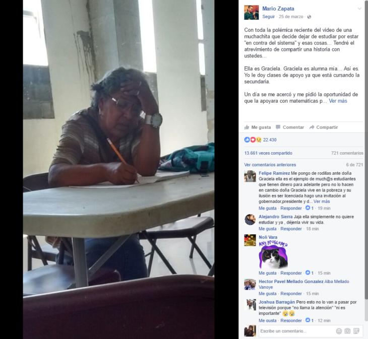mujer sentada escribiendo y publicación de facebook