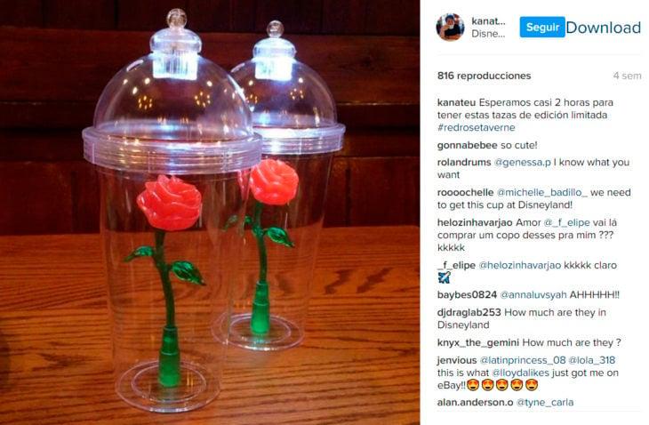 Comentarios en Instagram del vaso de la bella y la bestia