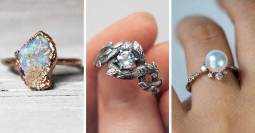 Anillos de compromiso que no tienen diamantes pero son hermosos