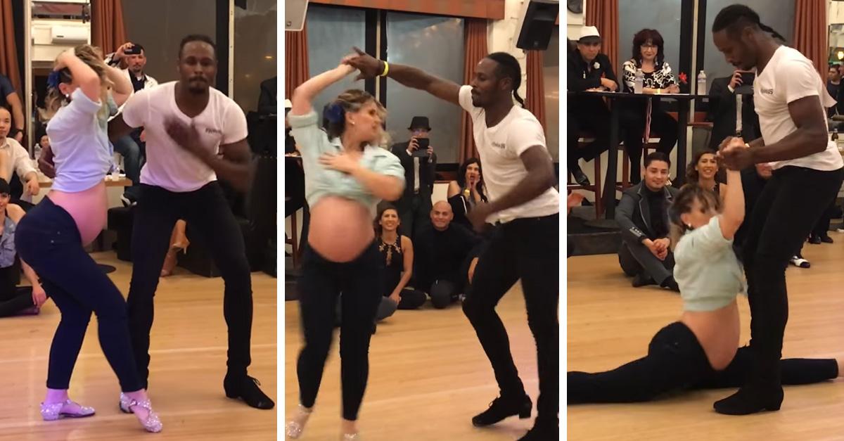 Con 7 meses de embarazo, participa en concurso de salsa y conquista a todo Internet
