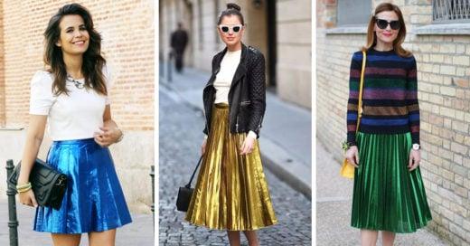 creativas sugerencias para combinar tu falda metálica