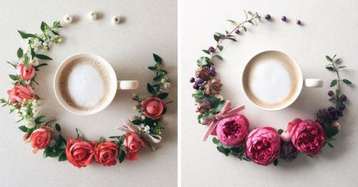 20 Hermosas imágenes que demuestran que flores y café son la combinación perfecta
