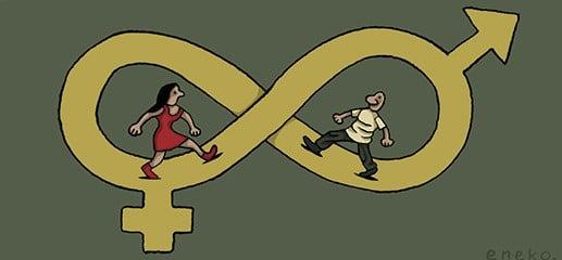 ilustración hombre mujer camino