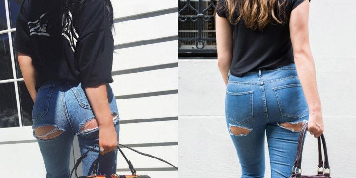 mujer con pantalones rotos