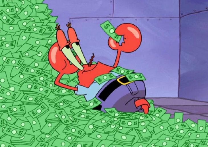 caricatura cangrejo con dinero en la mano