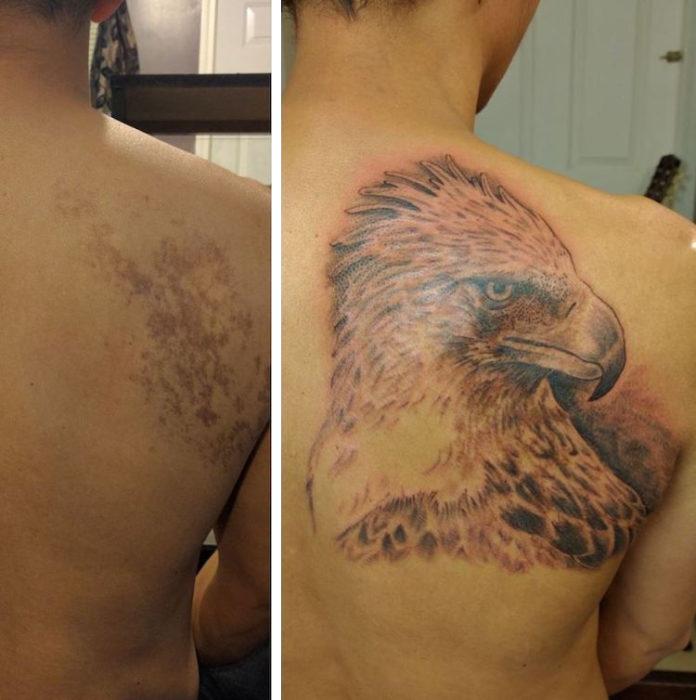 Chico con un tatuaje de águila en la espalda