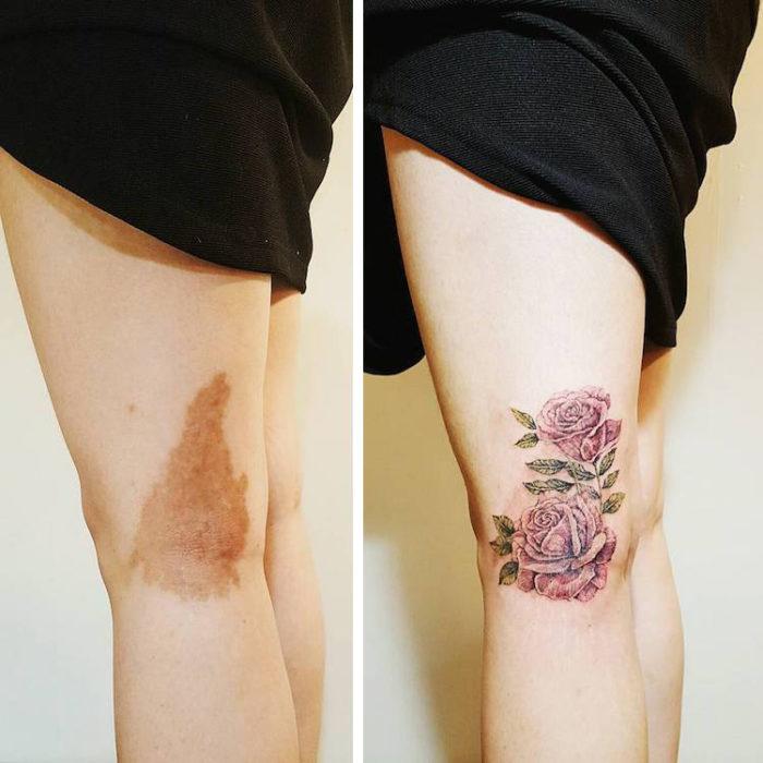 Chica con una flor tatuada en su pierna