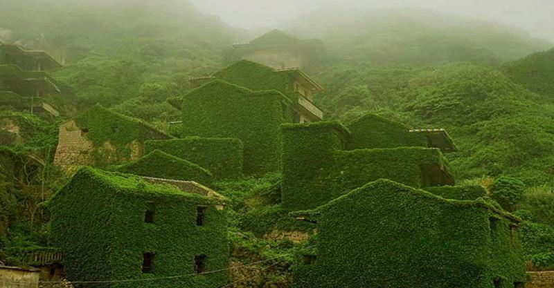 pueblo abandonado en la isla de shengshab, china