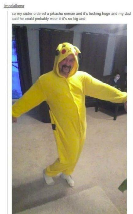 padre con disfraz de pikachu