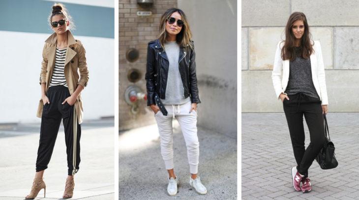 Chicas usando track pants en distintos tonos y outfits