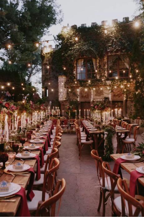 mesas grandes con velas