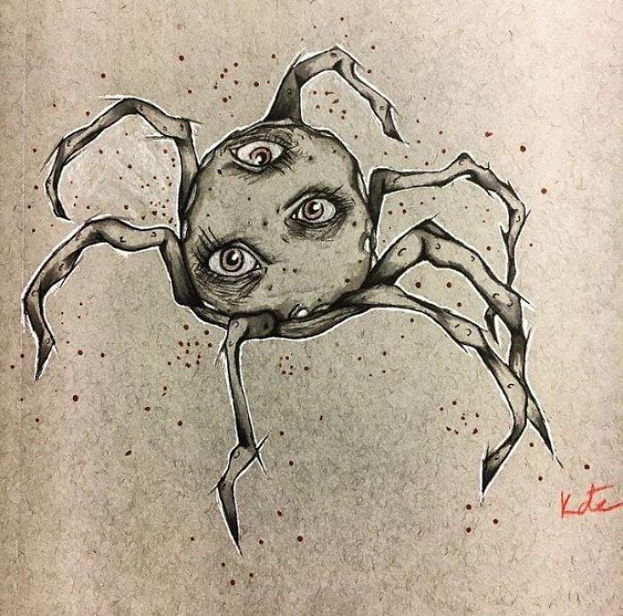Dibujo de una chica que sufre de alucinaciones gracias a la esquizofrenia