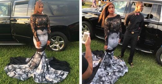 Chica impacta con vestido de graduación en honor a víctimas de brutalidad policiaca