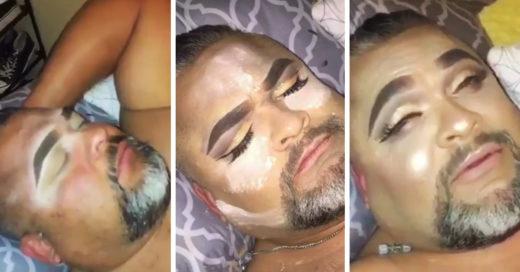 Esta chica maquilló a su papá mientras dormía
