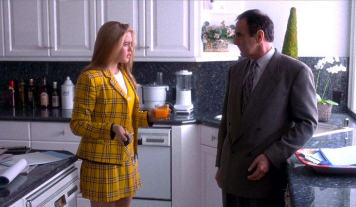 Escena de la película clueless. Cher y su padre hablando