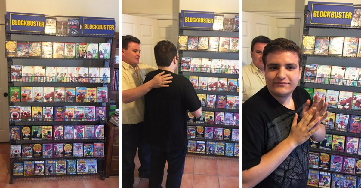 Padres recrean un 'Blockbuster' en casa para su hijo autista