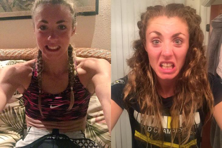 Antes y después de una chica con el cabello trenzado