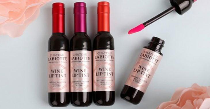 labial botella de vino