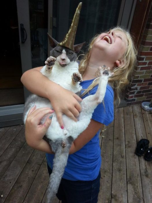 niña con gato unicornio