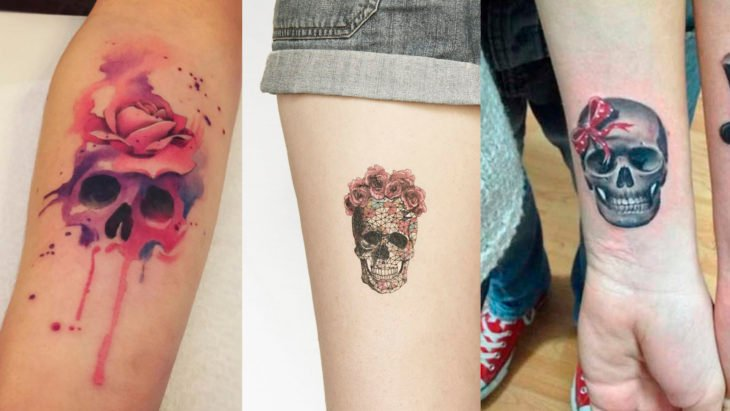 Chica con tatuajes de calavera