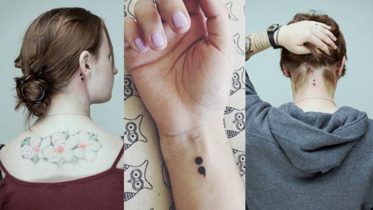Chica con un tatuaje de punto y coma