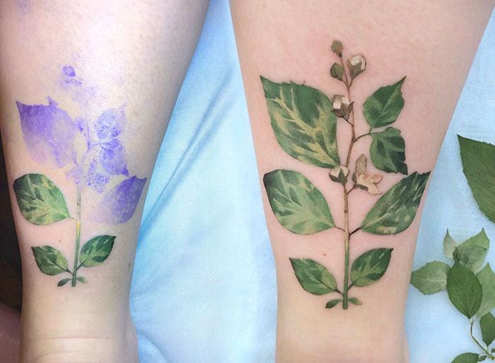 Tatuaje de una planta ne le tobillo de una chica