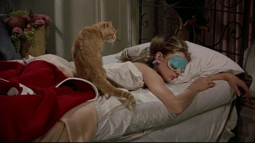 desayuno en tiffanys acostada con gato