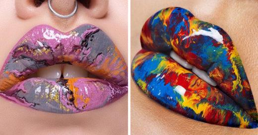 Labios mármoleados una explosión de colores en tu mejor arma de seducción