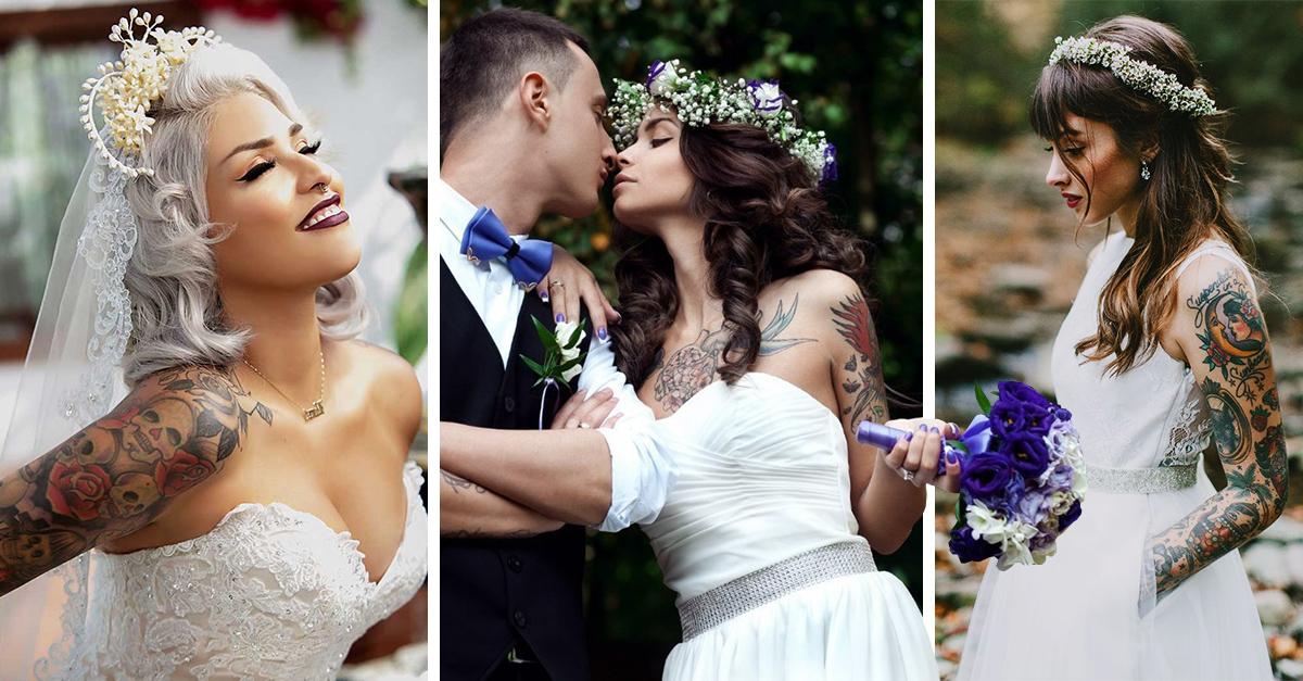 19 novias que demuestran que los tatuajes también pueden lucir increíbles en una boda
