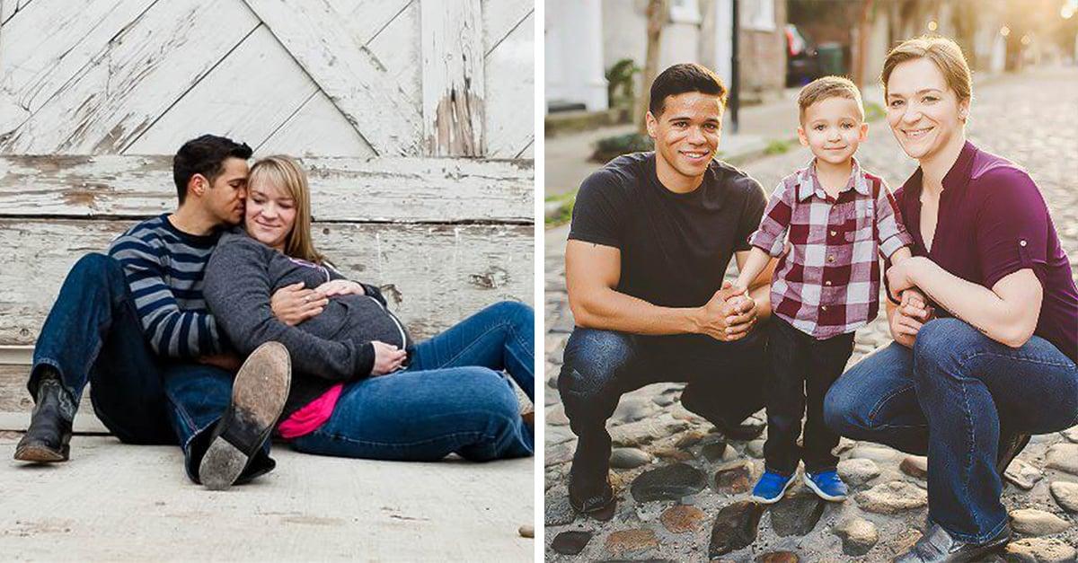 Padres divorciados se reúnen cada año para la tradicional foto familiar con su hijo
