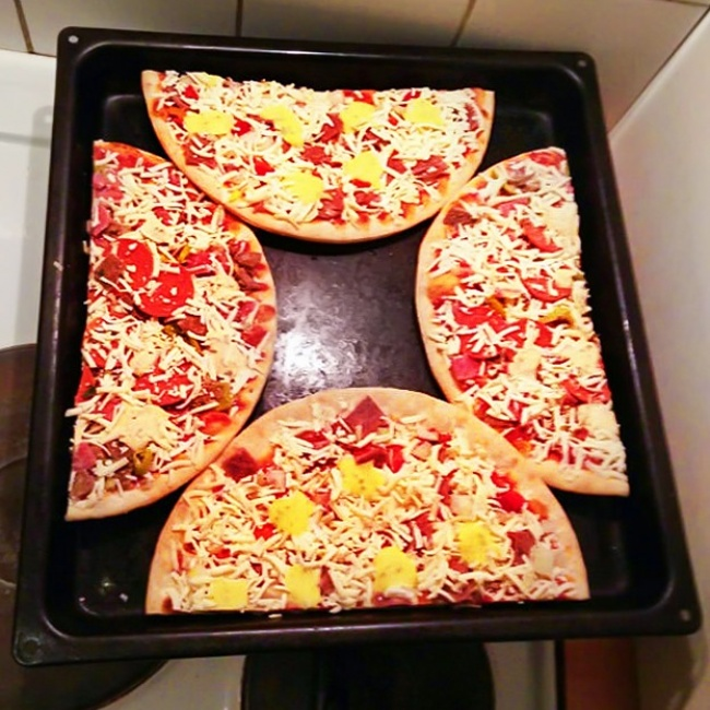 pizza en cuadro