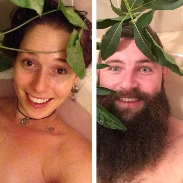 hombre con barba y plantas