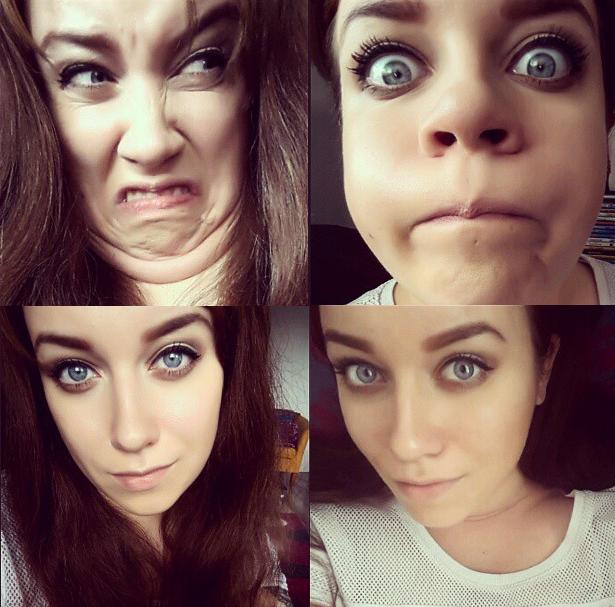 mujer diferentes poses selfie