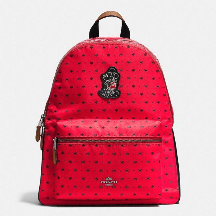 mochila roja de puntos mickey mouse