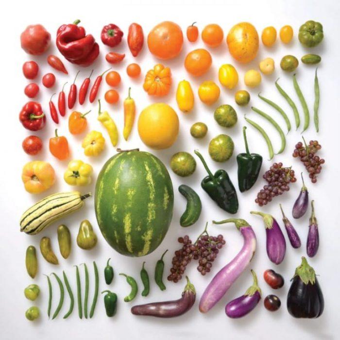 frutos ordenados por color