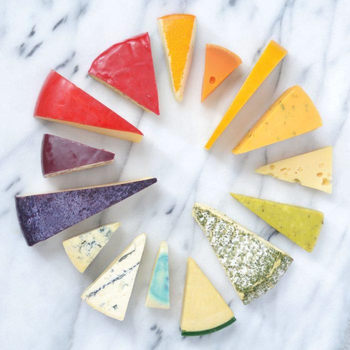 quesos ordenados por color
