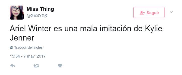 Comentarios en twitter de Ariel vs Kylie Jenner