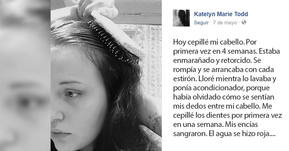 Chica con depresión comparte la primera vez que cepilla su cabello en 4 semanas