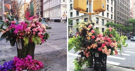 Florista convierte los cestos de basura de Nueva York en increíbles arreglos florales