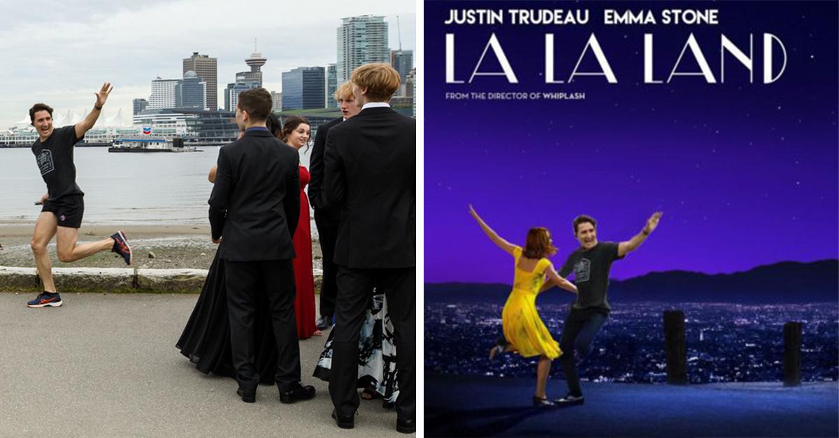 Justin Trudeau lo hizo de nuevo; desató una guerra de memes por colarse en una foto de graduación