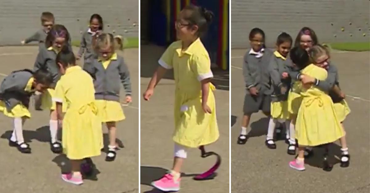 Una niña recibe una prótesis en su pierna y la reacción de sus amigas es encantadora