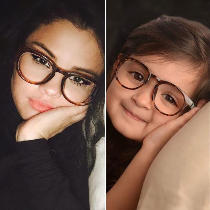 Niña imitando a Selena Gomez