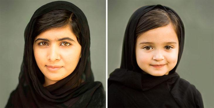 Niña posando junto a Malala Yousafzai