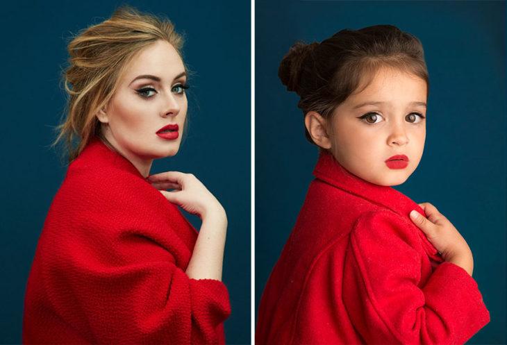 Niña imitando a Adele