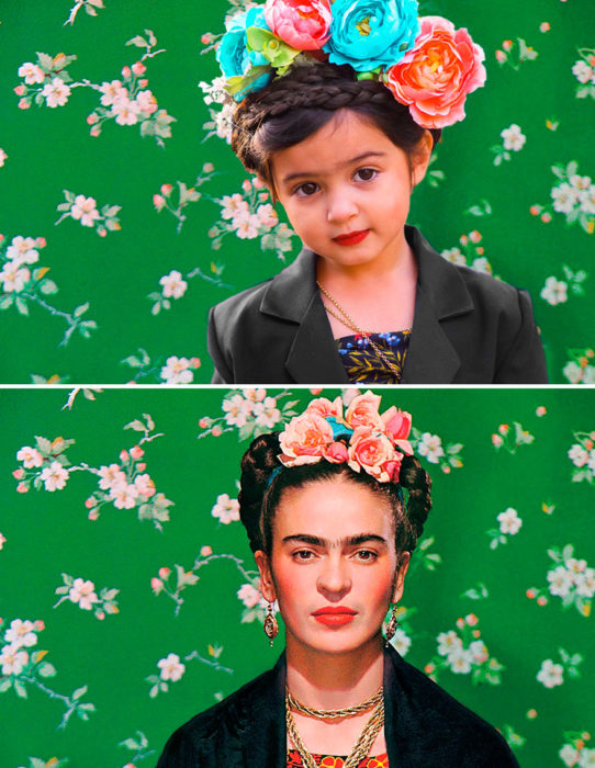 Niña imitando a Frida Kahlo
