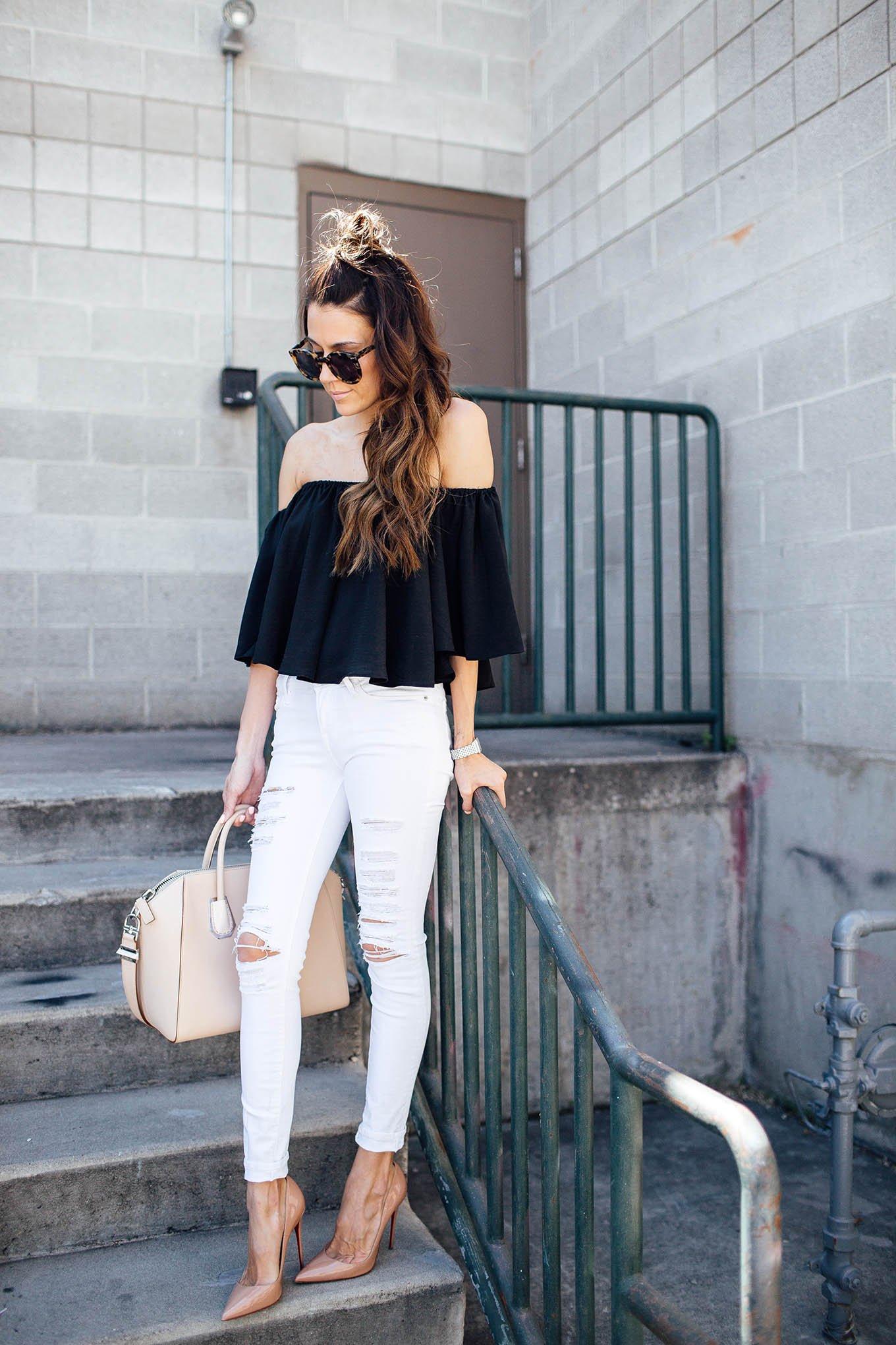 Outfit Blusa Hombros Descubiertos Blanca