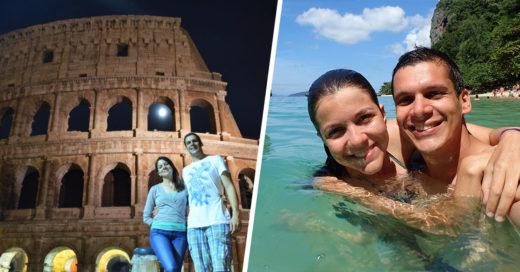 Pareja cambia su fiesta de bodas y viaja alrededor del mundo durante 5 meses