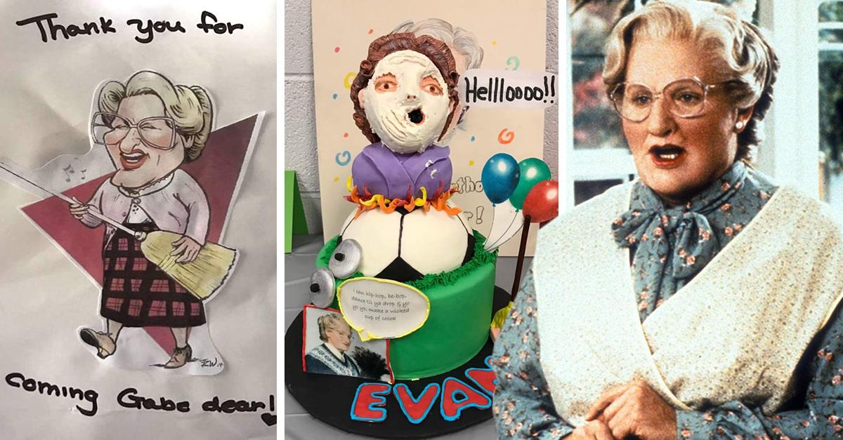 Pequeño de 4 años pide fiesta temática de 'Mrs. Doubtfire'; el resultado es adorable