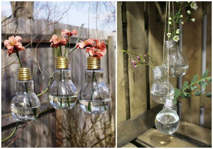 Focos reciclados como floreros